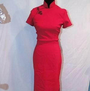 Bettie page chinese inspired wiggle dress